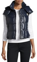Moncler Galene Shiny Hooded Vest, Navy