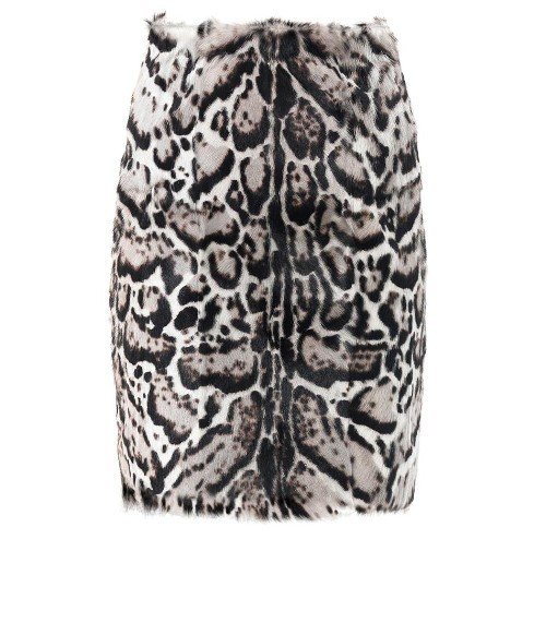 Christopher Kane Jaguar-print goat hair and leather pencil skirt