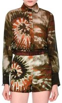 Valentino Long-Sleeve Tie-Dye Boyfriend Blouse, Orange/Green