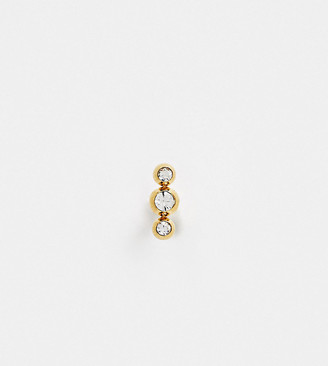 Kingsley Ryan labret sterling silver single labret earring in gold plated crystal