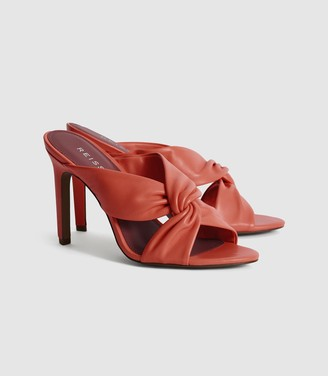 Reiss Ella - Leather Twist Front Heeled Mules in Coral