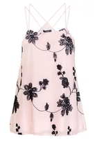 Quiz Pink And Black Chiffon Floral Embroidered Swing Top