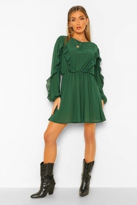 boohoo Woven Ruffle Front and Sleeve Skater Dress