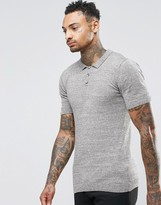 Asos Muscle Fit Knitted Polo In Khaki Twist