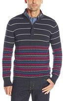 Nautica Men's Stripe Fair Isle 1/4 Zip Sweater