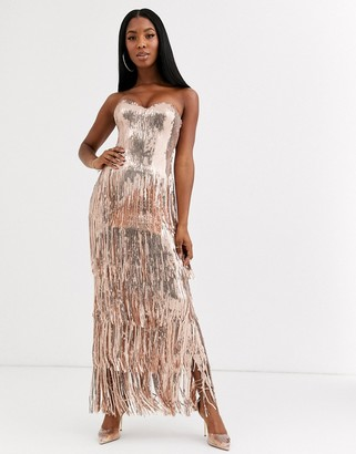 Goddiva sequin maxi dress with tiered tassel hem in rose gold