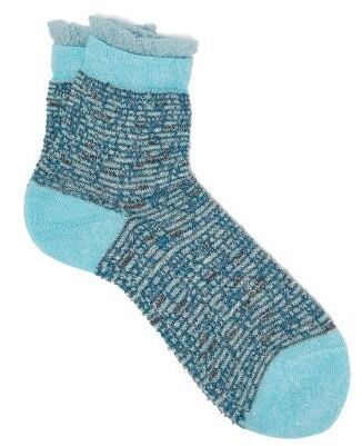 Falke Metallic-cuff Striped Ankle Socks - Womens - Blue
