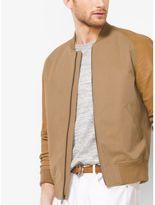 Michael Kors Leather-Sleeve Cotton-Twill Baseball Jacket