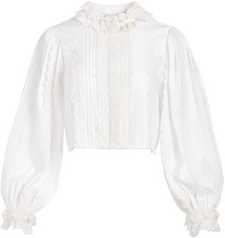 Alice + Olivia Yvette Mock Neck Button Front Blouse