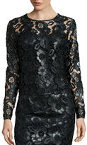 Bisou Bisou Long-Sleeve Faux-Leather Lace Top