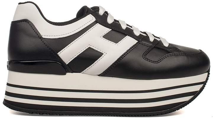 Hogan Black/white Maxi H222 Wedge Sneakers