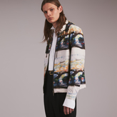 Burberry Reclining Figure: Bunched Print Hooded Jacket , Size: 54, White