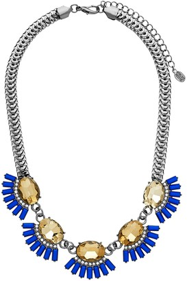 Sterling Forever Gunmetal Plated Blue and Champagne CZ Statement Necklace