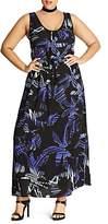 City Chic Summer Party Palm Print Maxi Dress