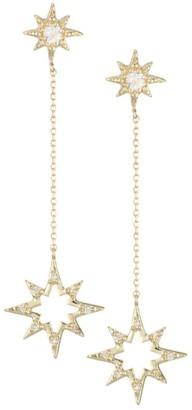 Anzie Aztec 14K Yellow Gold, White Topaz & Diamond Drop Earrings