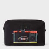Men's Canvas 'Leica Mini' Print Wash Bag