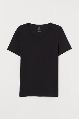 H&M Low-cut Slim Fit T-shirt - Black