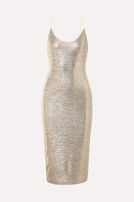 Alice + Olivia Delora Textured-lame Midi Dress - Gold