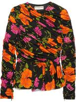 Balenciaga Floral-print Stretch-satin Peplum Top - Black