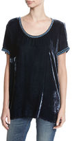 Johnny Was Dexter Velvet & Embroidered Georgette Tee, Plus Size