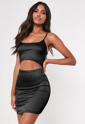 Missguided Black Stretch Satin Cut Out Bodycon Mini Dress