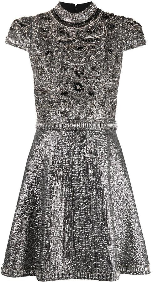 Alice + Olivia Floretta mock neck mini gown