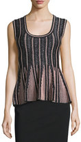 M Missoni Striped Lurex® Peplum Top, Gray/Pink