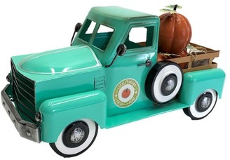 Overstock Country Style Metal Truck with Pumpkins in Antique Teal - 8.6x18x10