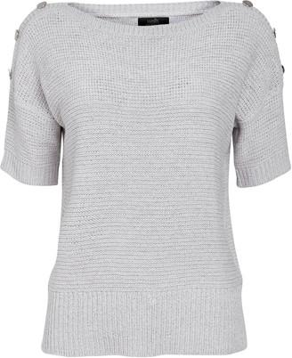 Wallis Grey Button Short Sleeve Jumper