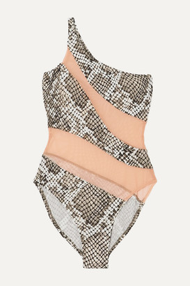 Norma Kamali One-shoulder Mesh-paneled Snake-print Swimsuit - Silver