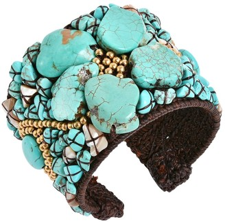 Aeravida Handmade Turquoise Slab Abstract Floral Statement Beaded Cuff Bracelet