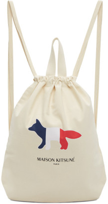 MAISON KITSUNÉ Off-White Tricolor Fox Tote Backpack