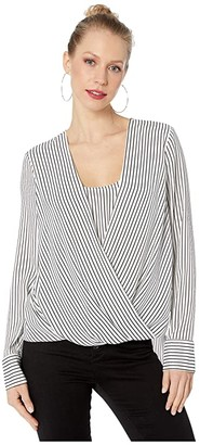 BCBGMAXAZRIA Wrap Front Blouse (Optic White Silhouette Stripe) Women's Clothing