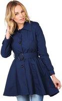KRISP Womens Single Breasted Trench Coat Belted Asymmetric Mac Jacket Outdoor