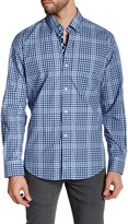 Tailorbyrd Navy Long Sleeve Checkered Woven Shirt