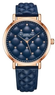 Stuhrling Original Women's Blue Leather Strap Watch 38mm