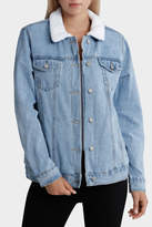 Glamorous Sherpa Lined Jacket With Embroided Back