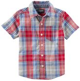 Osh Kosh Toddler Boy Red & Blue Short Sleeve Button-Down Shirt