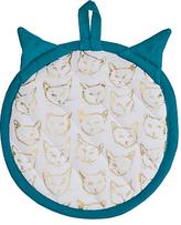 Anthropologie Leah Goren Cat Study Pot Holder, White/Multi