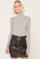 Missguided Grey High Neck Ribbed Bodysuit