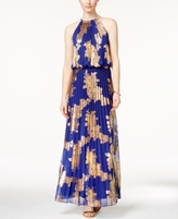 MSK Petite Metallic-Print Pleated Maxi Gown