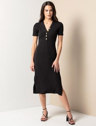 Forever New Brielle Petite Rib Midi Dress - Black - 10