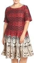 Gabby Skye Two-Tone Geo Print Scuba Fit & Flare Dress (Plus Size)