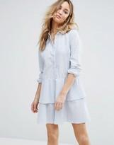 Vila Peplum Ruffle Shirt Dress