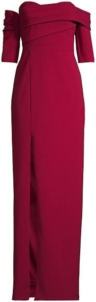 Aidan Mattox Draped Asymmetric Column Gown