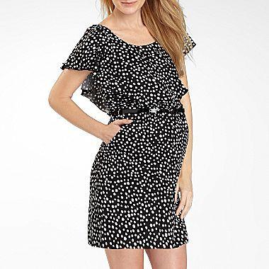 JCPenney Flutter-Sleeve Maternity Dress