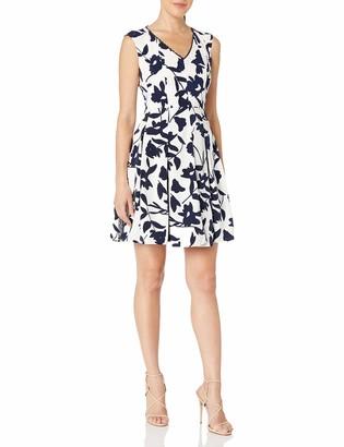 London Times Women's Plus Size Cap Sleeve V Neck Fit & Flare Dress
