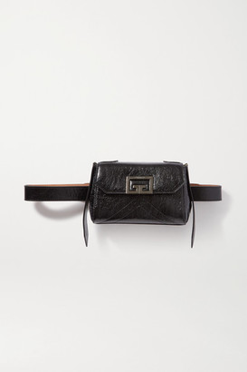 Givenchy Id Quilted Crinkled Glossed-leather Belt Bag - Black