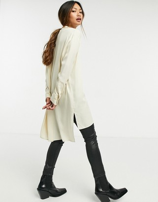 Selected long line collarless shirt in white