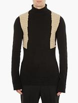 Rick Owens Black Panelled Wool Sweater